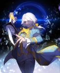 1boy absurdres blue_eyes blue_suit bow cravat glass_shards hair_bow highres holding holding_sword holding_weapon identity_v joseph_(identity_v) kylooe_0 long_hair long_sleeves low_ponytail male_focus pants ponytail smile solo standing sword weapon white_hair yellow_bow yellow_neckwear