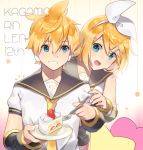 1boy 1girl anniversary bangs bass_clef behind_another blonde_hair blue_eyes bow brother_and_sister cake character_name commentary_request detached_sleeves eyebrows_visible_through_hair food fork fruit grin hair_bow hair_ornament hairclip halftone halftone_background headphones headset heart holding holding_fork kagamine_len kagamine_rin looking_at_another midriff mipi neckerchief necktie open_mouth plate sailor_collar shirt short_hair shorts siblings sleeveless sleeveless_shirt slice_of_cake smile sponge_cake star strawberry strawberry_shortcake treble_clef twins upper_body vocaloid whipped_cream yellow_neckwear