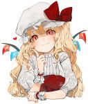 1girl :t alternate_hair_length alternate_hairstyle bangs blonde_hair blush bow commentary_request crystal embellished_costume eyebrows_visible_through_hair face flandre_scarlet floral_print gotoh510 hand_up hands hat hat_bow heart index_finger_raised long_hair looking_at_viewer mob_cap open_mouth print_sleeves puffy_short_sleeves puffy_sleeves red_bow red_eyes rose_print shirt short_sleeves signature simple_background smile solo touhou upper_body watermark white_background white_headwear white_shirt wings wrist_cuffs