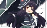 1girl :d animal_ears animal_hat bangs black_capelet black_dress black_hair black_headwear black_umbrella black_wings blush capelet cat_ears cat_girl cat_hat cat_tail character_name commentary_request dress eyebrows_visible_through_hair eyepatch fake_animal_ears fang feathered_wings frilled_capelet frills gothic_lolita hat holding holding_umbrella lolita_fashion long_hair long_sleeves miicha mirai_(senran_kagura) open_mouth red_eyes senran_kagura smile solo tail tail_raised twitter_username umbrella upper_body very_long_hair white_background wide_sleeves wings