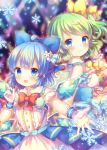 2girls :3 ahoge alternate_costume arms_up back-to-back badge blue_eyes blue_hair blurry blurry_background blush bow bowtie button_badge cirno commentary_request daiyousei depth_of_field detached_sleeves dress eyebrows_visible_through_hair fairy_wings flower glowstick green_hair hair_bow hair_flower hair_ornament idol_clothes looking_at_viewer looking_back multiple_girls open_mouth outstretched_hand overskirt pink_dress pjrmhm_coa puffy_short_sleeves puffy_sleeves red_neckwear short_hair short_sleeves side_ponytail smile snowflakes stage_lights standing touhou upper_body wings wrist_cuffs yellow_neckwear