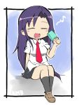 1girl bangs black_legwear blush breasts brown_footwear closed_eyes collared_shirt eyebrows_visible_through_hair food frame full_body goshiki_agiri hand_up holding kill_me_baby long_hair musical_note necktie open_mouth pleated_skirt popsicle purple_hair school_uniform shirt short_sleeves simple_background sitting skirt smile solo white_background white_shirt zubatto_(makoto)