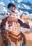 1boy abs absurdres bangs bare_chest black_hair bob_(biyonbiyon) brown_gloves cape closed_mouth clouds day earrings egyptian egyptian_clothes fate/grand_order fate/prototype fate_(series) gem gloves gold_trim highres jewelry male_focus outdoors ozymandias_(fate) pyramid shirtless sky solo white_cape yellow_eyes