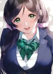 1girl :d blazer blue_jacket blush bow bowtie collared_shirt green_eyes green_neckwear highres jacket kate_iwana long_hair looking_at_viewer love_live! love_live!_school_idol_project low_twintails open_mouth otonokizaka_school_uniform pink_scrunchie purple_hair school_uniform scrunchie shirt smile solo striped striped_neckwear toujou_nozomi twintails upper_body white_shirt