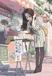black_footwear black_legwear brown_eyes brown_hair dress earrings food full_body high_heels highres holding holding_food jewelry long_hair looking_down office_lady office_lady_taiwan original pantyhose pixiv_id sandwich solo_focus striped striped_dress taiwan tennohi watch watch yellow_bag