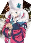 1girl absurdres anastasia_(fate/grand_order) bangs belt blue_eyes blush breasts choker collared_shirt doll evening_rabbit fate/grand_order fate_(series) fur_collar fur_hat hair_over_one_eye hat highres holding holding_doll jacket long_hair long_sleeves looking_at_viewer medium_breasts red_jacket shirt silver_hair skirt snowing solo ushanka viy white_headwear white_skirt