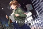 1girl bob_cut brown_hair building commentary_request cowboy_shot denim denim_skirt dutch_angle earphones earrings glance hagiwara_yukiho happy_birthday highres idolmaster izuki_(toneya) jacket jewelry looking_at_viewer medium_hair open_clothes open_jacket skirt snow solo sweater turtleneck turtleneck_sweater yellow_eyes