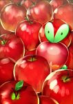 absurdres apple applin food fruit hagehiro highres leaf light_particles no_humans odd_one_out pokemon pokemon_(creature) pokemon_(game) pokemon_swsh red_theme solo symbol_commentary