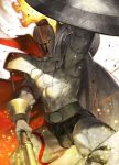 1boy abs armor azusa_(hws) belt biceps bulge cape fate/grand_order fate_(series) fire helmet holding leonidas_(fate/grand_order) male_focus muscle official_art polearm shield shirtless solo spear stone tattoo thighs thong upper_body veins weapon