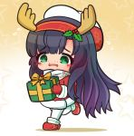 1girl antlers asimo953 black_hair blush boots box chibi dress freckles full_body fur-trimmed_dress fur_trim gift gift_box gradient gradient_background gradient_hair hat kantai_collection long_hair long_sleeves matsuwa_(kantai_collection) mittens multicolored_hair open_mouth pantyhose purple_hair red_dress red_footwear red_mittens reindeer_antlers sailor_hat scarf solo star starry_background tareme wavy_hair white_headwear white_legwear white_scarf yellow_background