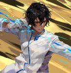 1boy arjuna_(fate/grand_order) black_eyes black_hair bow_(weapon) chyoel dark_skin dark_skinned_male drawing_bow energy_beam fate/grand_order fate_(series) gloves highres long_sleeves male_focus solo weapon white_gloves