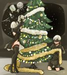 1boy 1girl 1other back_cutout bauble black_blindfold black_choker black_dress black_gloves black_hairband blindfold boots candy choker christmas christmas_lights christmas_tree commentary covered_eyes decorating decorations dress drone english_commentary feather-trimmed_sleeves food full_body gloves hairband high_heel_boots high_heels kokomi_(aniesuakkaman) long_sleeves nier_(series) nier_automata out_of_character pod_(nier_automata) short_hair side_slit signature silver_hair space spacecraft_interior thigh-highs thigh_boots thighhighs_under_boots yorha_no._2_type_b yorha_no._9_type_s