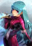 1girl aqua_hair bangs blowing blue_hair blurry blurry_background bodysuit bodysuit_under_clothes breasts breath cowboy_shot cropped_jacket gloves grey_background hankuri jacket kula_diamond long_hair long_sleeves looking_at_viewer looking_to_the_side medium_breasts parted_lips pink_lips purple_jacket shadow shiny shiny_clothes shiny_hair sidelocks snow solo the_king_of_fighters very_long_hair violet_eyes
