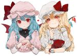 2girls :< :t ?? alternate_hair_length alternate_hairstyle artist_name bangs bat_wings blonde_hair blue_hair blush bow commentary_request cropped_torso crystal dress embellished_costume eyebrows_visible_through_hair face flandre_scarlet floral_print gotoh510 hand_up hands hat hat_bow heart highres index_finger_raised juliet_sleeves long_hair long_sleeves looking_at_viewer mob_cap multiple_girls nail_polish open_mouth own_hands_together pink_dress pink_headwear print_sleeves puffy_short_sleeves puffy_sleeves red_bow red_eyes red_nails remilia_scarlet rose_print shirt short_sleeves siblings signature simple_background sisters smile touhou upper_body watermark white_background white_headwear white_shirt wings wrist_cuffs