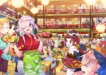 agravain_(fate/grand_order) ahoge altera_(fate) altera_the_santa anastasia_(fate/grand_order) apron artemis_(fate/grand_order) artoria_pendragon_(all) artoria_pendragon_(swimsuit_ruler)_(fate) ashwatthama_(fate/grand_order) assassin_(fate/stay_night) atalanta_(fate) bedivere benienma_(fate/grand_order) beowulf_(fate/grand_order) blonde_hair boudica_(fate/grand_order) bow bowl calamity_jane_(fate/grand_order) caligula_(fate/grand_order) carmilla_(swimsuit_rider)_(fate) carrying character_request chonmage circe_(fate/grand_order) cleopatra_(fate/grand_order) cu_chulainn_(fate)_(all) cu_chulainn_alter_(fate/grand_order) cup dragon_horns drinking_glass earrings eating elizabeth_bathory_(fate)_(all) enkidu_(fate/strange_fake) everyone eyebrows_visible_through_hair face_mask fate/grand_order fate_(series) food fou_(fate/grand_order) fujimaru_ritsuka_(female) fujimaru_ritsuka_(male) gilgamesh glass glasses grilled_fish hair_bow hair_over_one_eye hanging_light hat head_wings headdress hector_(fate/grand_order) highres hijikata_toshizou_(fate/grand_order) hoop_earrings horns ishtar_(fate)_(all) james_moriarty_(fate/grand_order) japanese_clothes jeanne_d'arc_(fate) jeanne_d'arc_(fate)_(all) jeanne_d'arc_alter_santa_lily jewelry julius_caesar_(fate/grand_order) kama_(fate/grand_order) katsushika_hokusai_(swimsuit_saber)_(fate) kimono kiyohime_(fate/grand_order) lakshmibai_(fate/grand_order) lancelot_(fate/grand_order) long_hair mandricardo_(fate/grand_order) mash_kyrielight mask matou_sakura medb_(fate)_(all) medb_(fate/grand_order) mordred_(fate)_(all) mouth multiple_boys multiple_girls nero_claudius_(fate) nero_claudius_(fate)_(all) okada_izou_(fate) okita_souji_(fate)_(all) orion_(super_archer)_(fate) ozymandias_(fate) parvati_(fate/grand_order) pink_hair ponytail potato_wedges purple_hair rama_(fate/grand_order) redrop restaurant rider_(fate/zero) roast_beef robin_hood_(fate) romulus_(fate/grand_order) saber saint_martha sakamoto_ryouma_(fate) sauce scathach_(fate)_(all) s