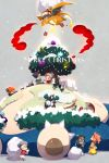 bush charizard chibi christmas_ornaments cis05 cold dande_(pokemon) dark_skin delibird fire flying gift gigantamax gigantamax_snorlax grey_background hat hiding hop_(pokemon) kabu_(pokemon) kibana_(pokemon) mary_(pokemon) masaru_(pokemon) merry_christmas nezu_(pokemon) pincurchin pokemon pokemon_(game) pokemon_swsh poplar_(pokemon) pyukumuku rurina_(pokemon) sack santa_hat snom snorlax snow sonia_(pokemon) star tree twitter_username visible_air yamper yarrow_(pokemon)