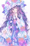 1girl absurdres adapted_costume blue_bow blue_ribbon blush_stickers bow commentary_request crescent crescent_moon_pin dress dress_flower dress_lift eyebrows_visible_through_hair flower hair_bow hat hat_flower hat_ribbon highres long_hair mob_cap patchouli_knowledge purple_hair red_bow red_ribbon ribbon simple_background solo touhou twitter_username umemaro_(siona0908) upper_body very_long_hair violet_eyes watermark wide_sleeves
