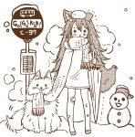 1girl absurdres animal animal_ears bandaid bandaid_on_knee bruise bus_stop circle_name dog full_body highres injury long_hair mitoko_(kuma) monochrome no_pants original road_sign scarf shared_scarf sign snow_on_head snowing snowman tail trembling umbrella wolf_ears wolf_tail