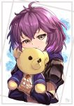 1girl bernadetta_von_varley closed_mouth fire_emblem fire_emblem:_three_houses garreg_mach_monastery_uniform grey_eyes highres holding holding_stuffed_animal hood hood_down long_sleeves nakabayashi_zun purple_hair short_hair solo stuffed_animal stuffed_toy teddy_bear uniform upper_body