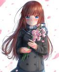 1girl black_jacket blue_eyes blue_scarf blue_skirt brown_hair crying crying_with_eyes_open dated flower highres hoary_stock jacket long_hair long_sleeves michiru_donut original petals pink_flower scarf simple_background skirt smile solo standing sweatdrop tears upper_body white_background