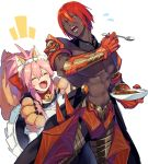 1boy 1girl ^_^ animal_ears apron ashwatthama_(fate/grand_order) closed_eyes curry curry_rice dark_skin dark_skinned_male fangs fate/grand_order fate_(series) food fox_ears fox_tail gauntlets highres long_hair maid ono_matope paws pink_hair redhead rice shirtless spoon tail tamamo_(fate)_(all) tamamo_cat_(fate) twintails yellow_eyes