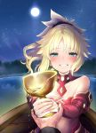 1girl bangs bare_shoulders blonde_hair blush boat braid breasts commentary_request detached_sleeves eyebrows_visible_through_hair fate/apocrypha fate_(series) grail green_eyes hair_ornament hair_scrunchie highres holding long_hair looking_at_viewer moon mordred_(fate) mordred_(fate)_(all) mozu_(peth) night outdoors ponytail red_scrunchie red_sleeves scrunchie smile solo_focus tears teeth watercraft