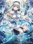 1girl angel angel_wings arch blue_neckwear company_name copyright_name dress earrings holding holding_sword holding_weapon indoors jewelry neko_miya nova_(tcg) official_art silver_hair solo sword twintails weapon white_dress wings yellow_eyes