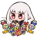 1girl artist_name box candy chibi cookie cute do_m_kaeru eating fire_emblem fire_emblem:_fuukasetsugetsu fire_emblem:_three_houses fire_emblem_16 food gift gift_bag gift_box intelligent_systems koei_tecmo loli long_hair long_sleeves lysithea_von_ordelia moe nintendo pink_eyes simple_background solo white_background white_hair