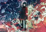 1girl abstract_background absurdres amenosoto arms_at_sides black_dress black_hair brown_footwear closed_mouth coat dress expressionless full_body highres huge_filesize loafers long_sleeves looking_at_viewer open_clothes open_coat original red_coat red_eyes shoes short_hair solo standing thanatos_(vocaloid) vocaloid