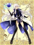 1girl aqua_eyes belt black_footwear black_legwear boots breasts bridal_gauntlets full_body gold_trim hand_up kerberos_blade l_(matador) long_hair looking_at_viewer open_mouth orb small_breasts smile solo standing thigh-highs thigh_boots very_long_hair white_hair