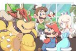 bar_stool bird blue_eyes boots bowser brown_footwear cafe crow cup green_shirt horns light_blue_dress looking_at_another luigi mario mario_(series) omochi_(glassheart_0u0) overalls parfait red_eyes red_headwear red_shirt rosalina shirt smile spikes stool teacup tree