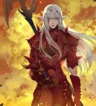 1boy absurdres armor bangs blood blood_on_face bloody_hair blunt_bangs character_request closed_mouth dama_(sindygao) final_fantasy final_fantasy_xiv floating_hair full_armor gauntlets green_eyes headwear_removed helmet helmet_removed highres holding holding_helmet long_hair long_sleeves looking_at_viewer male_focus pointy_ears smile solo standing weapon white_hair