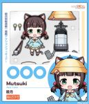 1girl :d animal_ears azur_lane bangs blue_border blue_shirt blunt_bangs blush border brand_name_imitation brown_hair candy cat_ears character_doll character_name chibi commentary_request copyright_name eyebrows_behind_hair fangs faux_figurine figure food goodsmile_company hat hat_removed headwear_removed kindergarten_uniform kurono lifebuoy lollipop low_twintails mutsuki_(azur_lane) neckerchief nendoroid open_mouth parody rigging sailor_collar school_hat shirt short_hair sidelocks skirt smile tail torpedo_tubes toy translation_request twintails twitter_username yellow_neckwear yellow_skirt