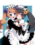 2girls alternate_costume alternate_hairstyle animal_ears apron artist_name ashley_(warioware) back_bow bangs bell black_dress black_hair blue_background blue_bow blue_eyes blush bow bowtie breasts brown_hair cat_ears cat_tail commentary_request dress enmaided eyebrows_visible_through_hair frills hair_bow hair_ornament happy herunia_kokuoji highres hug jingle_bell long_hair long_sleeves looking_at_viewer maid maid_apron maid_headdress medium_breasts mona_(warioware) multiple_girls neck_bell one_eye_closed open_mouth orange_bow paw_print puffy_short_sleeves puffy_sleeves red_eyes red_neckwear shiny shiny_hair short_sleeves signature simple_background skull skull_hair_ornament smile standing tail tail_bow teeth tied_hair twintails twitter_username two-tone_background warioware