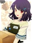 1girl :d apron badge black_hair box button_badge copyright_name hair_ornament hairclip holding holding_box kerberos_blade l_(matador) medium_hair name_tag open_mouth red_eyes short_sleeves simple_background smile solo upper_body