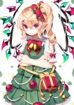 1girl abstract_background alternate_costume annoyed bell blonde_hair bow bowtie box christmas_ornaments commentary_request cowboy_shot crossed_arms dress eyebrows_visible_through_hair flandre_scarlet gift gift_box green_dress gunjou_row hair_between_eyes hair_bow hair_ornament head_tilt highres layered_dress light_frown petticoat pinafore_dress pointy_ears raglan_sleeves red_eyes red_neckwear shirt short_hair short_sleeves side_ponytail slit_pupils solo standing star star_hair_ornament touhou white_background white_shirt