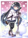 1girl absurdres alternate_costume bangs black_hair blunt_bangs checkered checkered_scarf cherry_blossom_print closed_mouth coat earmuffs eyebrows eyebrows_visible_through_hair flower girls_frontline gun hair_flower hair_ornament haradaiko_(arata_himeko) highres holding idw_(girls_frontline) looking_at_viewer pantyhose red_eyes scarf shoes shovel smile sneakers snow snowflakes snowing snowman solo submachine_gun type_100 type_100_(girls_frontline) weapon white_coat