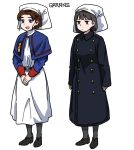 2girls anchor_symbol anyan_(jooho) belt_buckle black_footwear blue_eyes braid braided_bun brown_eyes brown_hair buckle capelet commentary_request comparison full_body headwear korean_commentary long_skirt long_sleeves multiple_girls original pantyhose shoes short_hair simple_background skirt sleeve_cuffs standing trench_coat white_background