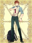 1boy adjusting_neckwear backpack backpack_removed bag black_footwear blue_shirt book brown_hair full_body green_eyes hand_up holding holding_book kerberos_blade l_(matador) male_focus necktie pants shirt simple_background solo standing vest watch watch yellow_background