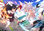 2girls animal_ears armpits battle black_hair breasts commentary_request detached_sleeves fire fox_ears fox_tail hair_ornament hairclip hololive ice japanese_clothes leg_up long_hair looking_at_another m-ya mountain multiple_girls official_art ookami_mio shirakami_fubuki silver_hair smoke tail thigh-highs weapon wolf_ears