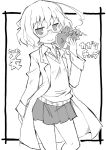 1girl ahoge blush closed_mouth commentary_request copyright_name eyebrows_visible_through_hair frame glasses greyscale hand_up heart holding kagaku_chop labcoat looking_at_viewer messy_hair monochrome pleated_skirt school_uniform short_hair simple_background skirt smile solo standing suzuzono_sai sweater_vest translation_request valentine white_background zubatto_(makoto)