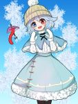 1girl alternate_costume arms_up black_legwear blue_background blue_eyes blue_hair blue_skirt capelet commentary_request eyebrows_visible_through_hair feet_out_of_frame fur-trimmed_capelet fur-trimmed_skirt fur_trim gradient gradient_background head_tilt heterochromia highres karakasa_obake kayon_(touzoku) knit_hat long_sleeves looking_at_viewer mittens open_mouth pantyhose partial_commentary red_eyes shirt short_hair skirt snowflake_background snowflakes solo standing symbol_commentary tatara_kogasa touhou umbrella white_headwear white_mittens white_shirt