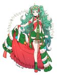 1girl braid christmas_ornaments closed_mouth dress fire_emblem fire_emblem:_three_houses fire_emblem_heroes full_body fur_trim green_eyes green_hair hair_ornament highres long_hair nagao_uka pointy_ears simple_background smile solo sothis_(fire_emblem) tiara twin_braids twitter_username white_background