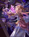 1girl 1other absurdres armor azoura back-to-back blonde_hair blue_eyes bracer circlet dress fire forehead_jewel glowing highres jewelry knight long_dress long_hair looking_at_viewer magic necklace outstretched_arms pearl_necklace phantom_(the_legend_of_zelda) pointy_ears princess_zelda purple_fire shield smile tabard the_legend_of_zelda the_legend_of_zelda:_spirit_tracks work_in_progress