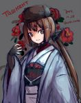 1girl alternate_costume belt black_bow black_headwear blush bow brown_eyes brown_hair closed_mouth cyrillic dated eyebrows_visible_through_hair fingerless_gloves flower gloves grey_background hair_bow hair_ornament hairclip hat japanese_clothes kantai_collection kimono long_hair long_sleeves looking_at_viewer low_twintails obi papakha red_flower sash simple_background star tashkent_(kantai_collection) twintails twitter_username wss_(nicoseiga19993411)