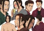 !? 1boy :o akahiro_hirata alcohol beer beer_can brown_hair can choko_egg closed_eyes facial_hair frown grey_shirt grin hand_up holding holding_can kaze_ga_tsuyoku_fuiteiru looking_at_viewer medium_hair multiple_views parted_lips red_shirt shirt shirtless simple_background smile stubble surprised sweatdrop white_background