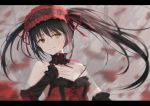1girl black_hair breasts choker clock_eyes date_a_live detached_sleeves hairband hand_on_own_chest heterochromia highres jiuyue_lin lace lace_choker letterboxed lolita_fashion lolita_hairband long_hair medium_breasts motion_blur red_eyes smile solo strap_slip symbol-shaped_pupils tokisaki_kurumi twintails yellow_eyes