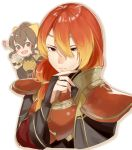1boy 1girl bracelet breastplate bridal_gauntlets brother_and_sister brown_eyes brown_hair closed_mouth delthea_(fire_emblem) fire_emblem fire_emblem_echoes:_shadows_of_valentia haru_(nakajou-28) highres jewelry long_hair low_ponytail luthier_(fire_emblem) open_mouth orange_hair ponytail siblings simple_background white_background