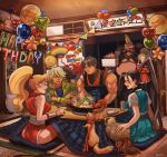 3boys 4girls absurdres balloon bird birdie_(street_fighter) black_hair blonde_hair dougi ferret final_fight gai_(final_fight) genryuusai_maki grey_hair happy_birthday highres ibuki_(street_fighter) kanzuki_karin kotatsu mohawk multiple_boys multiple_girls pantyhose ponytail raccoon scarf school_uniform shariputra883 sitting street_fighter street_fighter_v table zeku