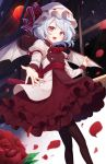 1girl :d ascot bangs bat_wings black_legwear blue_hair blush brooch commentary eyebrows_visible_through_hair fang feet_out_of_frame flower hat hat_ribbon highres jewelry juliet_sleeves konnyaku_(yuukachan_51) long_sleeves looking_at_viewer mob_cap moon open_mouth pantyhose petals puffy_sleeves reaching_out red_eyes red_flower red_moon red_neckwear red_ribbon red_rose red_skirt remilia_scarlet ribbon rose rose_petals shirt short_hair skirt smile solo standing touhou white_headwear white_shirt window wings